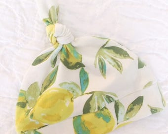 Lemon Knot Baby Hat / Knotted Baby Hat / Baby Girl Hat / Floral / Modern Baby Hat / Knot Baby hat / Floral Hat / Macie and Me