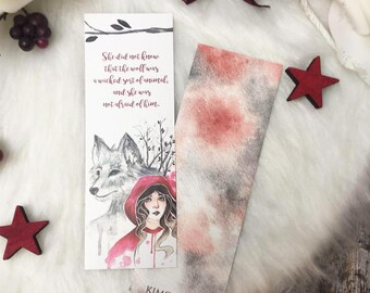TWO-SIDED watercolor printed bookmark - Little Red Riding Hood and the Big Bad Wolf