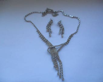 Sparkling White Paste Diamante Necklace and Matching Earrings Set, Diamante Jewellery Set