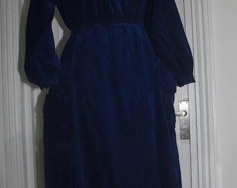 1970's Corduroy Skater Dress in Midnight Blue, Custom-made