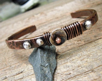Copper and Sterling Silver hammered cuff bracelet