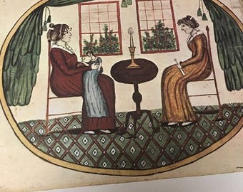 AMERICAN PRIMITIVE WATERCOLOR Print: Two Women, ,by Eunice Pinney