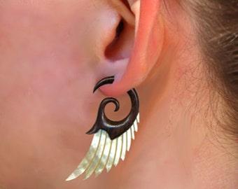 Fake Gauges, Handmade, Wood Earrings, Cheaters, Split, Tribal Jewelry - Shell Wings MOP Brown - Wood Max's Angel Wingss - SWM2