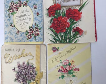 Vintage Mothers Day Cards - Junk Journals or Scrapbooking DIY - Vintage Flower Cards