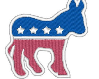Democratic Donkey embroidery  pattern download for Machine Embroidery for 4X4 hoop