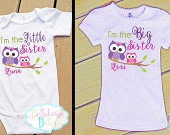 Owls Big Sister Little Sister Outfit - Bodysuit or Tshirt - Photo prop - Newborn