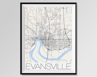 EVANSVILLE Indiana Map, Evansville City Map Print, Evansville Map Poster, Evansville Map Art, Evansville gift, Custom city maps, Indiana map