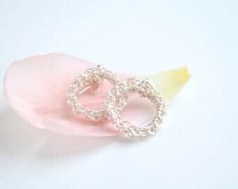 Modern Crochet Circle Earrings, Eternity Collection, Eternity, Handmade Silver Wire Earrings