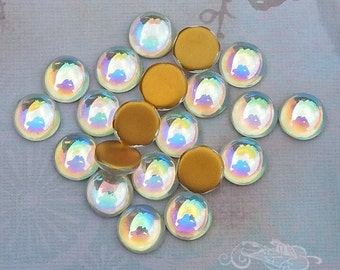 Vintage Cabochons - 13 mm Crystal AB - 6 West German Glass Stones