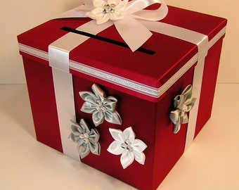 Wedding  Card Box Red/Scarlet , Silver and White Gift Card Box Money Box Holder.-Customize your color