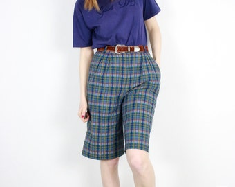 French Vintage 80's Green Blue Plaid Bermuda Shorts / High Waisted Culottes Gray Tartan Checkered Pendleton Golf shorts 1980s 90s / Size S