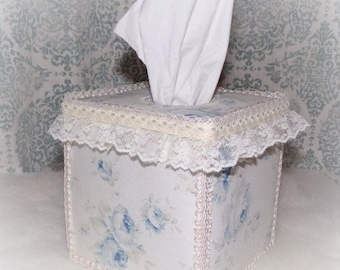 Large Blue Shabby Roses Fabric TISSUE COVER for Square Tissue Box with Ivory Ribbon Lace