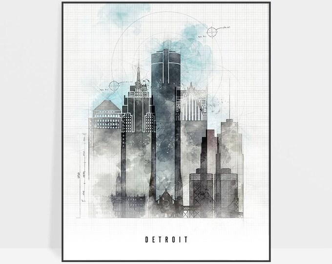 Detroit skyline, Detroit art, wall art, poster, Detroit print, travel poster, contemporary art, city print, home decor, gift, ArtPrintsVicky