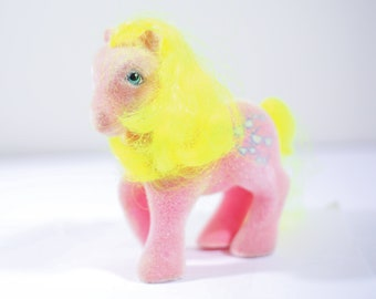 My Little Pony MLP G1 - Flocked So Soft Shady Hot Pink and Sunglasses, Vintage Ponies, Vintage My Little Pony, 80s toys