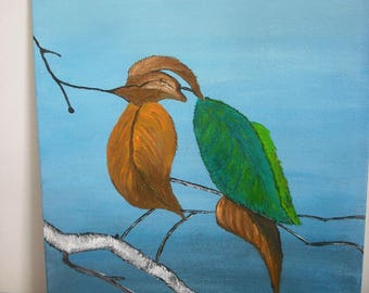 """Painting acrylic painting """"bird deleafed"""""""