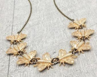 Bee Necklace, Bumblebee Honey Bee Necklace, Bee Statement Necklace, Bee Jewelry, Bee Lover Beekeeper, Gift for Her