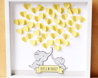Elephant Baby Shower Guestbook, Gender Neutral Baby Shower Guest Book, Custom Color, Hello Baby, Guest Sign In, 3D Nursery Art, Baby Gift