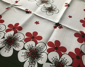 """Happy Retro Floral Mod Vintage Linen Tablecloth by FILMDRUCK WASCHECHT Germany~Paper Label~NOS~Unused~1960's~""""Sonja"""""""