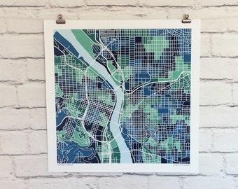 Portland Oregon Map Print