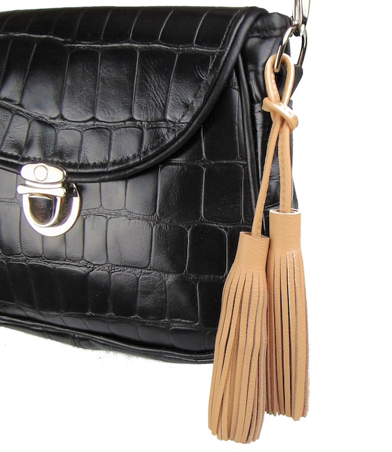 72412c895dd Ready to Ship TAN Double-Ended Leather Tassel Bag Charm Bag