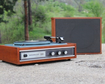 Vintage record player USSR Record, Soviet record player, Old gramophone, Vinyl record player, Records turntable phonograph with big speaker