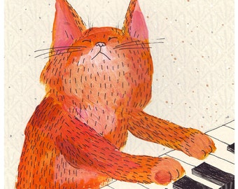 Cat playing piano print - ginger music cat A4 print, play him off