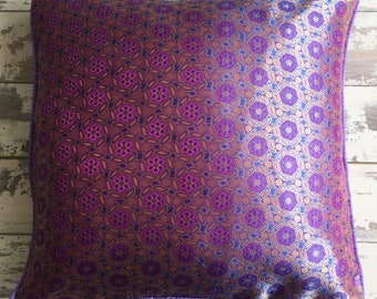 Purple Ethnic Faux Silk Cushion Cover