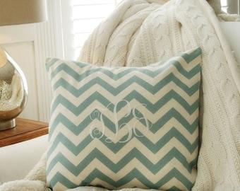 Monogram Blue Chevron Pillow Cover ,Wedding Gift,Nursery Decor,Chevron Baby ,Personalized Cover, Beach Decor,Home & Living Decor by OhKoey
