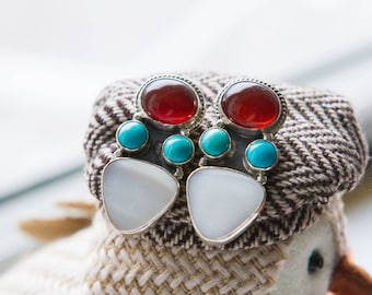 925 Sterling Silver Stone Set Post Push Back Dangle Earrings, Boho Chic Native American, Turquoise Statement Earrings,