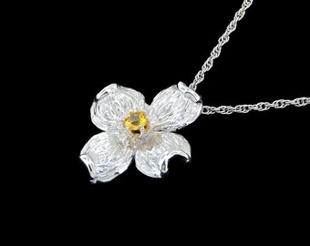 14k White Gold and Genuine Yellow Sapphire Center Stone Dogwood Blossom Pendant or Necklace (Optional Chain)