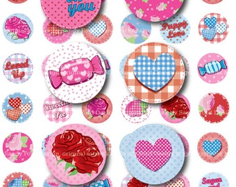 My Shabby Valentine 1 INCH CIRCLES Digital College Sheet - instant download - for bottle caps, magnets, button badges, scrapbooking