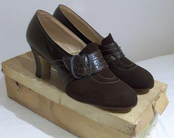Divine 1930s tailored heels w/oversized buckled strap detail US 6 / UK 4 NOS w/ original box!