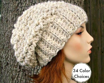 Wheat Womens Hat Slouchy Beanie Slouchy Hat - Souffle Beret Wheat Crochet Hat - Womens Accessories Winter Hat - 34 Color Choices