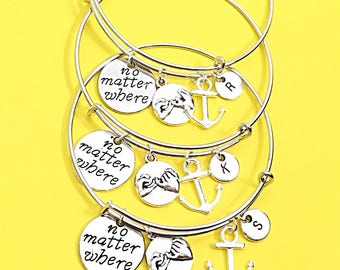 3 Set No matter where, distance charm bracelet, no matter where pendant, friendship bangle bracelet,long distance jewelry, anchor, bff gift
