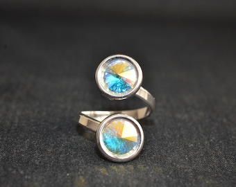 Ring 925 Double cabochon Swarovski crystal ab 8 mm