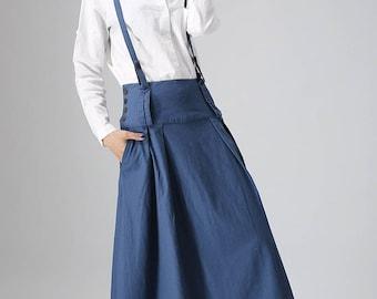 maxi blue skirt, linen skirt, womens skirts, casual skirt, custom made skirt, fall skirt, plus size skirt, skirt with pockets, gift idea 819
