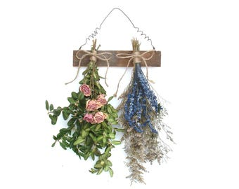 Dried Flower Rack, Dried Roses, Farmhouse Decor, Dried Flower Arrangement, Wall Decor, Shabby Farmhouse, Cottage Decor, French Country Chic