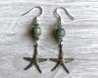 Pewter Starfish Earrings