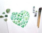 Aquarelle Coeur vert émeraude - Tirage d'art représentant une collection de morceau de verre dépolis par la mer - Décoration marine