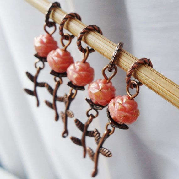 La Vie En Rose - Five Handmade Stitch Markers - Fits Up To 5.0mm (8 US) - Open Edition