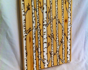 Birch Tree Pyrography Painting
