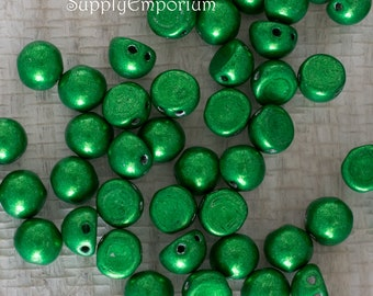 7mm Saturated Metallic Kale Cabochon, Saturated Metallic Kale 7mm Cabochon, 9 Grams, 5248