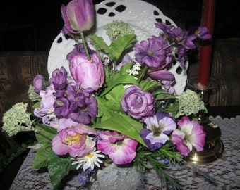 Purple Floral Arrangement, Spring Arrangement, Table Flower Arrangement, Purple Tulips, Purple Pansies