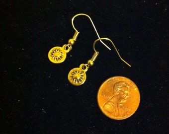 Gold Dial Earrings, Locker Lock Earrings, Tiny Gold Earrings, Spin Dial Lock