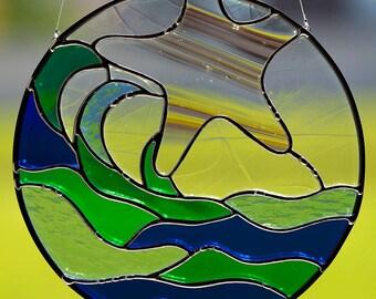 Stained glass ocean suncatcher, starfish, stain glass sea star sun catcher, beach, glass ocean waves, window hanging