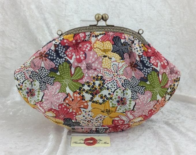 Flowers Fabric purse bag frame handbag fabric clutch shoulder bag frame purse kiss clasp bag Handmade Mauvey