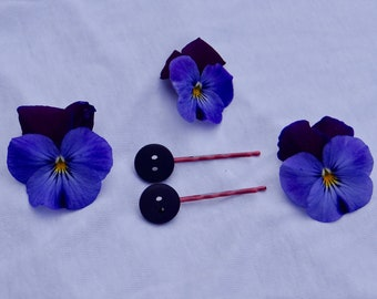 Cute dark purple button hairpins