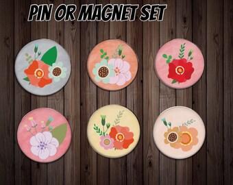 Fridge magnet   kitchen magnet   dinner gift   flower magnet   friend gift    host gift   party gift   party favor   flower pin