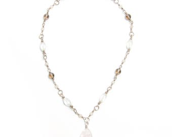 Rose Quartz, Smoky Quartz and Quartz Necklace with Rose Quartz Pendant