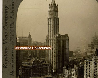 Woolworth Building 1914 Era Awesome 3-D Stereoview Card Landmark Building No Power Lines Antique Photograph from FavoriteCollectibles